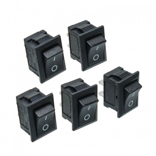 5Pcs Black Push Button Mini Switch 6A-10A 110V 250V KCD1-101 2Pin Snap-in On/Off Rocker Switch 21MMx15MM