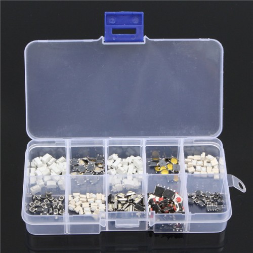 250Pcs 10 Types Tactile Push Button Touch Switch Remote Keys Button Microswitch