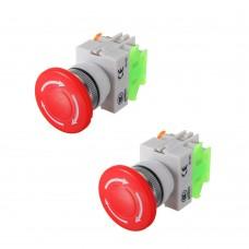 2Pcs N/O N/C Emergency Stop Switch Push Button Mushroom 4 Screw Terminals