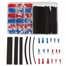 200pcs Terminals Connectors + 60pcs 2:1 Black Heat Shrink Tube Assorted Box Kit