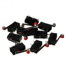 100Pcs Micro Limit Switch With Roller Lever KW12-3 Open/Close Switch 5A 125V