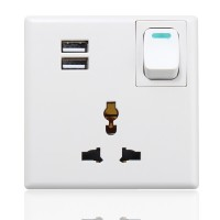 5V 2.1A Dual USB Port Wall Charger Adapter Outlet Plate Socket with Switch Button