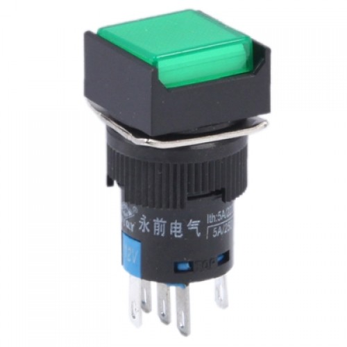 Car DIY Square Button Push Switch with Lock & LED Indicator, AC 220V (Green)