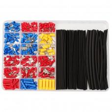 320pcs Terminals Connectors + 60pcs 2:1 Black Heat Shrink Tube Assorted Box Kit