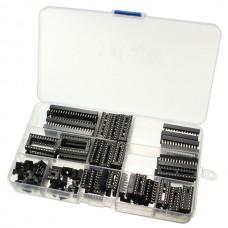 95Pcs DIP IC Sockets 6/8/14/16/18/20/24/28 Pins Adapter Solder Type Socket Kit