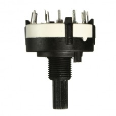 1 Pole 12 Way 0.3A 250VAC Black Rotary Switch Solder Terminals 18 Teeth Shaft